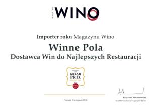 Kolejne zwycięstwo!!! Winne Pola – IMPORTEREM ROKU 2018